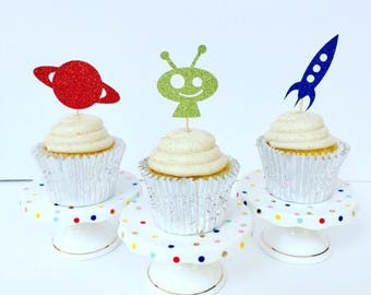 Out of this World Cupcake Topper / Outer Space Birthday Party / Set of 12