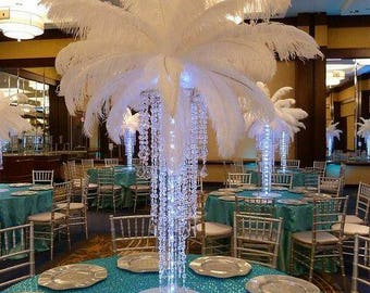 Chandelier/crystal table top chandelier with stand/Eiffel tower centerpiece/feather centerpiece/chandelier centerpiece/crystal chandelier