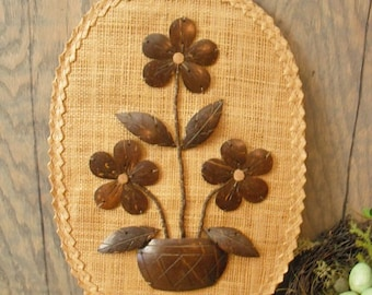 vintage Sea Grass and wood coconut shell Floral wall hanging ..Eames Era Mod Island wall plaque Exotic