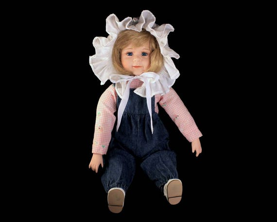 Porcelain Doll, Sitting Doll, Big Bonnet Doll, Country Doll, 12 Inch, Blonde, Collectible, Blue Jean Doll, Shelf Doll, Display Doll
