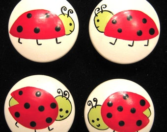 Set of 8 LADY BUGS -  Hand Painted Knobs - Kids Line Lady Bug Design