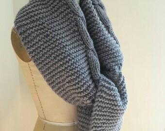 FABULOUS vintage handknit cable cardigan melange knit winter scarf shawl woolen