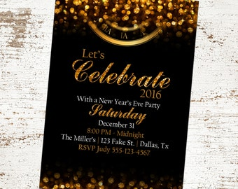 Custom Black and Gold New Year's Eve Invitation - Glitter Clock