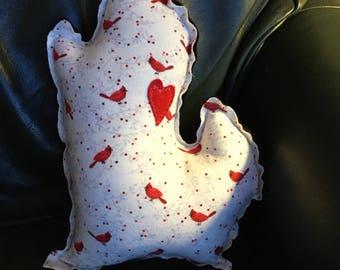 Michigan Mitten Pillow, Red Birds, Bird Pillows, Birder Gift, Red Cardinals, Custom Pillow, Made in Michigan, FREE SHIPPING