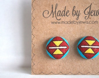 Dream Catcher Studs Crimson Red Teal Aqua Geometric American Indian  Handmade Fabric Covered Hypoallergenic Button Post Stud Earrings 10mm