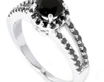 1.60CT Black Diamond Pave Halo Engagement Ring 14K White Gold Sizes 4-9