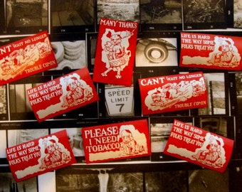 8 Very Very Old and  Nostalgic Antique Gummed Labels