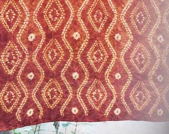 RB018 [The Eyes] - Saffron Red Natural Dyed Shibori Fabrics