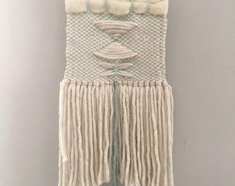 Aqua warp and white weaving (small)