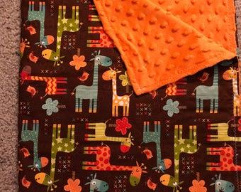 Brown Jungle Giraffe Minky Blanket
