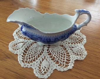 Flow blue WH Grindley England gravy boat Grace pattern circa 1900
