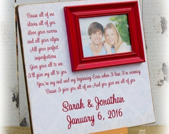 All of Me Loves All of You, Anniversary Gift, Personalized Picture Frame, Valentines Day, Custom 16 X 16