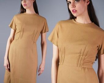 60s Wool Dress Mod Structural Dress Pinched Waist Dress Minimalist Mustard Beige Dress Fitted Like a Dream