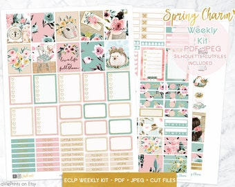 Spring weekly kit, Printable Planner stickers, Floral vintage stickers, ECLP, use with Erin Condren, hedgehog stickers, gold checklist, EC
