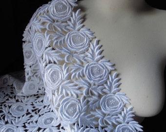 WHITE Lace Guipure Lace Venise Lace  for Bridal, Bodices, Skirts, Shorts, Boleros