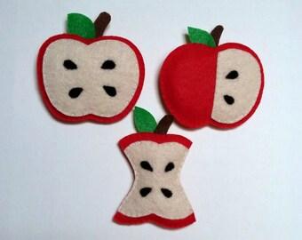 Felt apple refrigeratior magnet, ornament,Set of 3,Felt apples,Felt food,Apple kitchen decor,Mother's day gift,Gift for teacher,Apple magnet