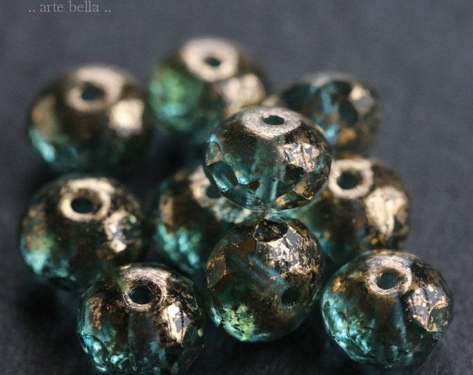 GILDED AQUA BLUES .. New 10 Premium Picasso Czech Glass Beads 6x9mm (6241-10)