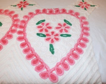 Vintage Chenille | Pink Hearts and Flowers, Curlicues Vintage Chenille Bedspread Fabric | Large Piece, 42 x 28 Inches | 2 Hearts, 8 Flowers