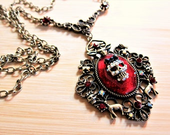 Gothic Ruby Red Sparkle Skull Pendant and Chain Deer Rabbit