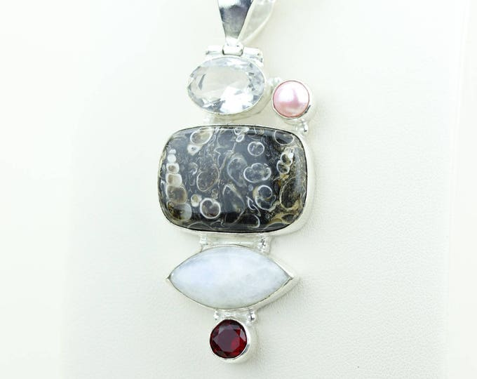 Turtella Jasper Larimar Garnet Clear Topaz 925 S0LID Sterling Silver Pendant + 4MM Snake Chain p4013