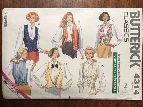 RARE 5 different vest patterns 1989 Annie Hall Woody Allen costume Vintage Butterick sewing pattern 4314 bust Size 6 8 10 vest 80sUNCUT from weseatree on ... & RARE 5 different vest patterns 1989 Annie Hall Woody Allen costume ...