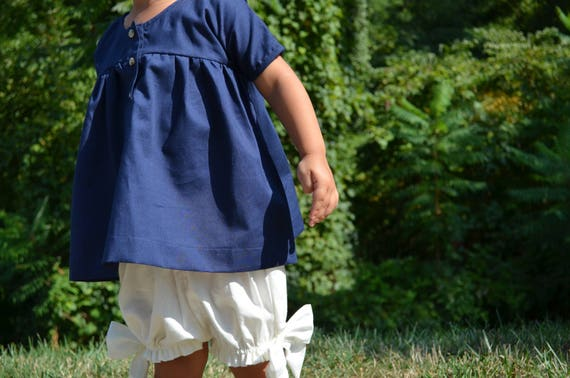 Girls Blue Dress -  Baby Dress - Infant Organic Cotton Dress - Baby Clothes - Twirly Dress size 24 months - Girls Blouse