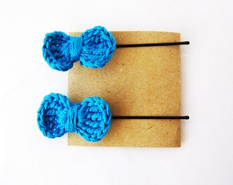 Blue baby hair bow, Set of two crochet hair bows, Cute hair bow, Blue hairbow, Cute girl hair bow, Blue bow hair, Crochet bow hair bobby pin