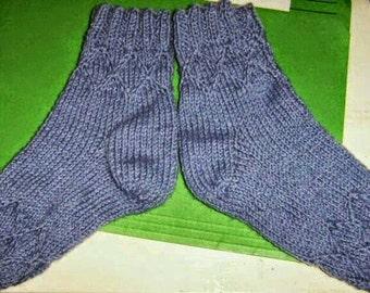 Socks teen blue 2 embossed diamond rounds
