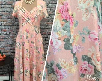 Vintage QPS 1980's Pink Garden Roses Maxi Dress  Size 10/ Medium