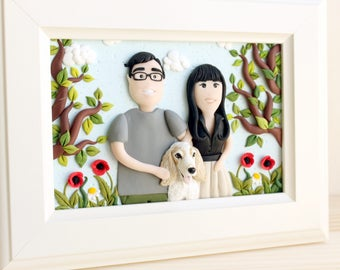 Couples portrait, custom portrait, custom family portrait, pet portrait, custom illustration, pet illustration, gift for him, gift for her