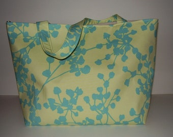 Buttercream and Teal Coriander  Amy Butler Fabric PHAT TOTE with KeyFob (New Style)