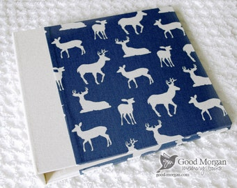 0 to 12 months Baby Memory Book - Navy Deer
