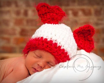 Red Heart Bear Hat and Tushie Cover Set NEWBORN PHOTOGRAPHY Ready to Ship SALE!