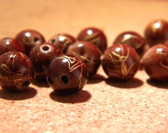 10 drawn beads 10 mm - golden brown-gold PE159 wire