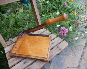 Antique Petite Wood Guillotine, Vintage Paper Cutter, Edwardian Guillotine, Jaynay Trimmer, Patent pending, Paper Trimmer,
