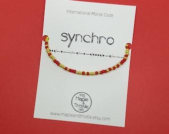 Synchro bracelet red gold | Morse code synchro bracelet | Gift for skater | Synchronized swimming | Present for skater Synchronized skating