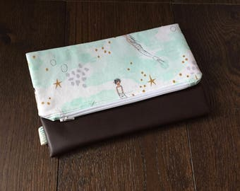 Mermaid Fold Over Clutch with Vegan Leather Bottom
