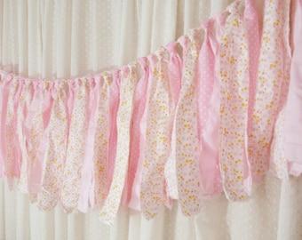 Pink Fabric Tie Garland, Rag Tie Banner, Baby Girl Room Nursery Decor, Baby Shower Decor