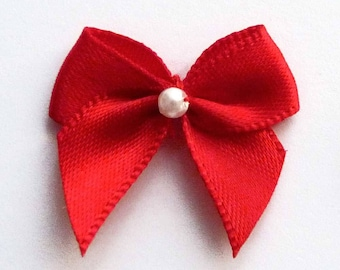 Set of 10 small 25mm bright red satin bow little white pearl beads flower applique