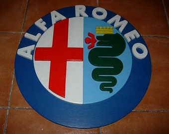alfa romeo wooden sign