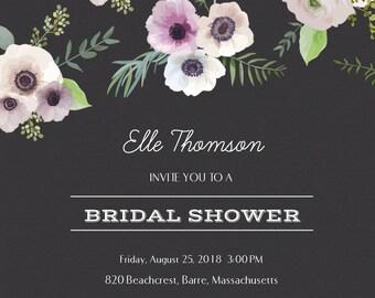 Bridal Shower Invitation | Floral Invitation | Boho Chic | Digital Copy | 5x5 Card