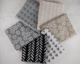 Hand Printed Fabric Fat Quarter Bundle - 6 Neutrals