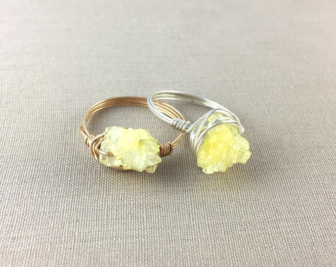 Yellow Druzy Ring // druzy nugget ring, yellow stone ring, wire wrapped ring, rose gold ring, sterling silver ring, gold ring, drusy ring