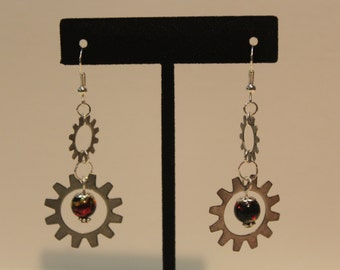 Drop earrings, found objects, silver plated tone, dark china bead