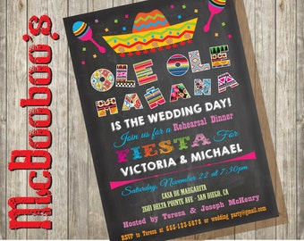 Mexican Fiesta Rehearsal Dinner Invitations on a chalkboard background