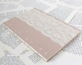 Large Coptic Bound Guest Book Journal with Blush Pink Linen and Floral Vintage Lace