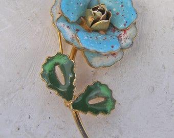 Vintage Flower Brooch, Enamel Flower Brooch, Painted Enamel Floral Jewelry, Blue Green White Enamel Pin