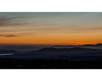 Temecula Mountain Sunset - Fine Art Photography -Simple - Minimalist - Wall Decor - Orange, Peaceful - Nature Landscape - Photo Print