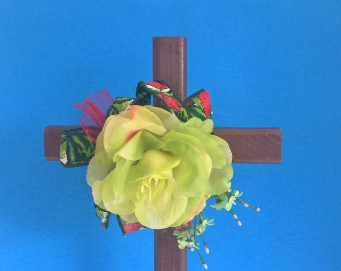 Cemetery cross, grave decoration, memorial cross, Floral Memorial, grave flowers, in memory of, memorial flowers, cemetery deco
