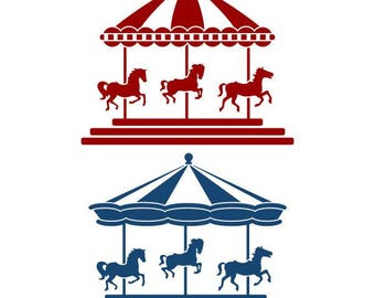 Carousel Horse Circus Cuttable Design SVG PNG DXF & eps Designs Cameo File Silhouette
